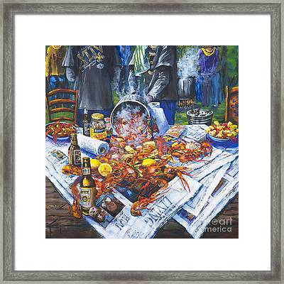 The Crawfish Boil - Acrylic On Canvas Framed Print by Dianne Parks
