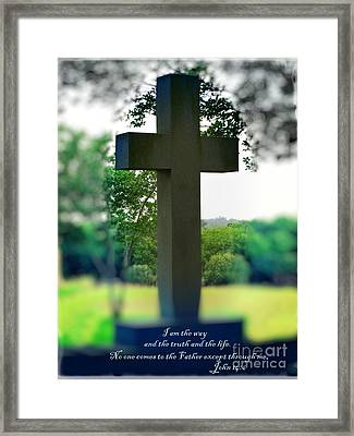 The Cross Of Jesus - I Am The Way Framed Print by Ella Kaye Dickey