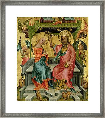 The Crowning Of The Virgin, From The Right Wing Of The Buxtehude Altar, 1400-10 Framed Print by Master Bertram of Minden