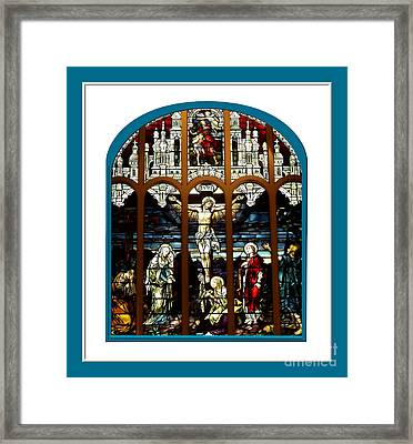 The Crucifixion Of Jesus On Good Friday Stained Glass Window Framed Print by Rose Santuci-Sofranko