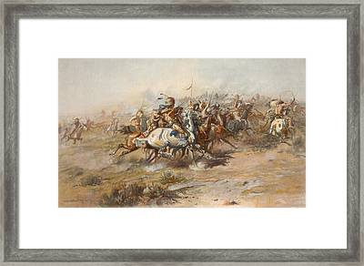 The Custer Fight  Framed Print by War Is Hell Store