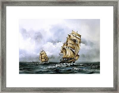 The Cutty Sark And The Red Clipper Framed Print by Val Byrne