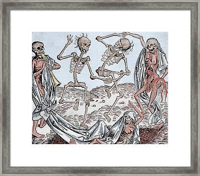 The Dance Of Death Framed Print by Michael Wolgemut