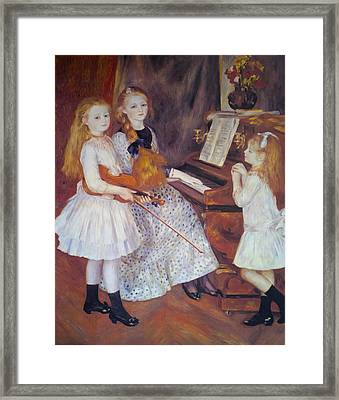 The Daughters Of Catulle Mendes Framed Print by Pierre Auguste Renoir