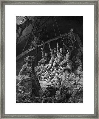 The Dead Sailors Rise Up And Start To Work The Ropes Of The Ship So That It Begins To Move Framed Print by Gustave Dore
