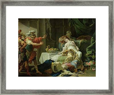 The Death Of Cleopatra, 1755 Oil On Canvas Framed Print by Louis Jean Francois I Lagrenee
