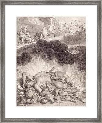 The Death Of Hercules Framed Print by Bernard Picart