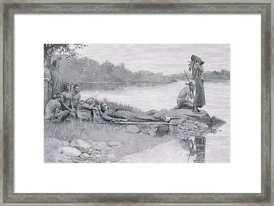 The Death Of Indian Chief Alexander Framed Print by Howard Pyle