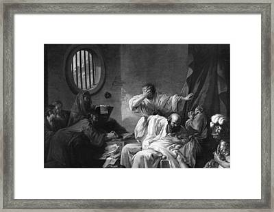 The Death Of Socrates Framed Print by Jacques Philippe Joseph de Saint-Quentin