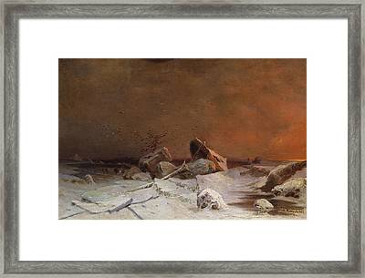 The Debacle Oil On Canvas Framed Print by Arseniy Ivanovich Meshchersky