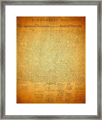 The Declaration Of Independence - America's Founding Document Framed Print by Design Turnpike