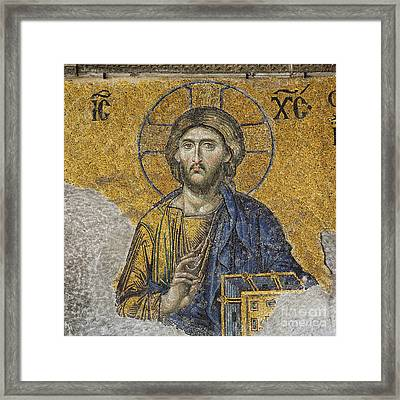 The Deisis Mosaic At The Hagia Sophia Museum In Istanbul Framed Print by Robert Preston