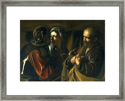 The Denial Of Saint Peter Framed Print by Caravaggio