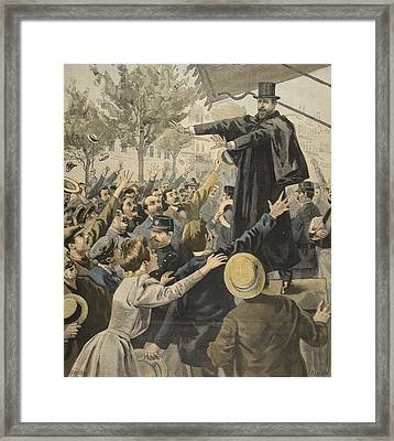 The Deroulede Meeting At The Exit Framed Print by French School