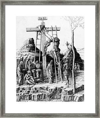 The Descent From The Cross Framed Print by Andrea Mantegna