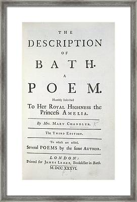 The Description Of Bath Framed Print by British Library