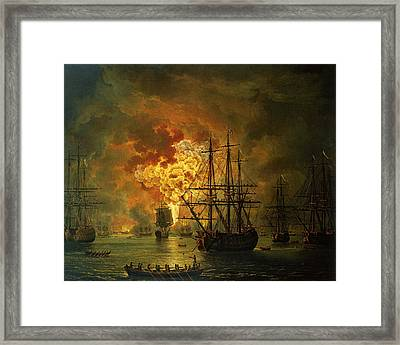 The Destruction Of The Turkish Fleet At The Bay Of Chesma Framed Print by Jacob Philippe Hackert
