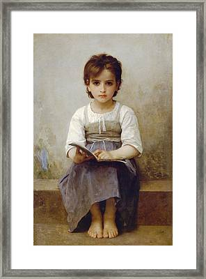 The Difficult Lesson Framed Print by William Bouguereau