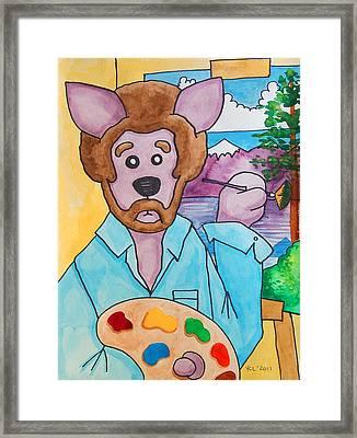 The Dingo Starring As Bob Ross Framed Print by Yvonne Lozano