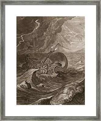The Dioscuri Protect A Ship, 1731 Framed Print by Bernard Picart