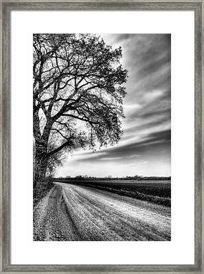 The Dirt Road In Black And White Framed Print by JC Findley