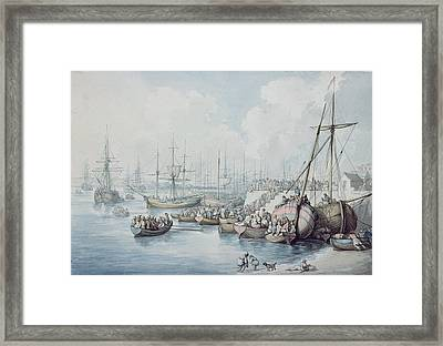 The Disembarkation Of The Royalists Of Toulon At Southampton In 1794 Framed Print by Thomas Rowlandson