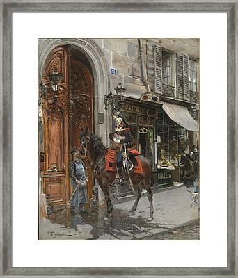 The Dispatch-bearer Framed Print by Giovanni Boldini