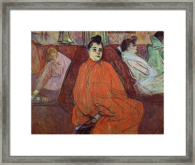 The Divan, 1893 Gouache & Pastel On Cardboard Framed Print by Henri de Toulouse-Lautrec