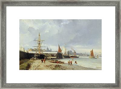 The Docks On The Bank At Greenwich  Framed Print by Julius Hintz