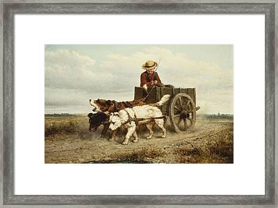 The Dog Cart Framed Print by Henriette Ronner-Knip