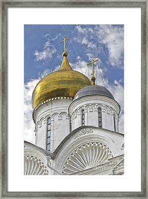 The Domes Of Archangel Cathedral Framed Print by Elena Nosyreva