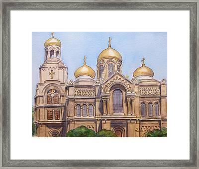 The Dormition Of The Mother Of God Cathedral  Varna Bulgaria Framed Print by Henrieta Maneva