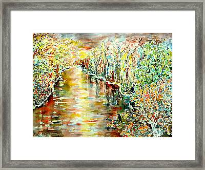 The Dove And The Raven And The River Framed Print by Alfred Motzer