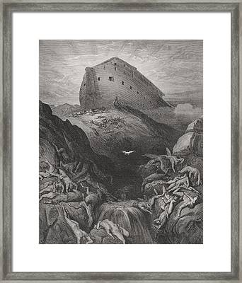 The Dove Sent Forth From The Ark, Genesis 138-9, Illustration From Dores The Holy Bible, 1866 Framed Print by Gustave Dore