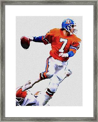 The Drive  John Elway Framed Print by Iconic Images Art Gallery David Pucciarelli