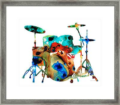 The Drums - Music Art By Sharon Cummings Framed Print by Sharon Cummings