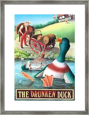 The Drunken Duck Framed Print by Peter Green