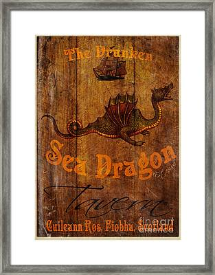 The Drunken Sea Dragon Pub Sign Framed Print by Cinema Photography