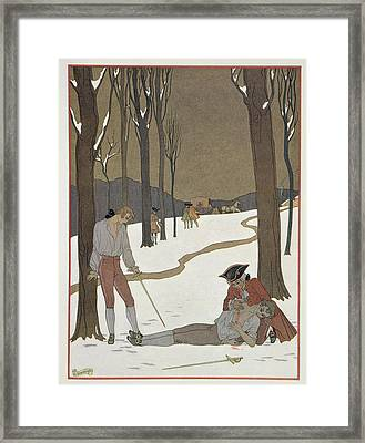 The Duel Between Valmont And Danceny Framed Print by Georges Barbier