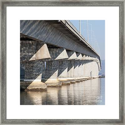 The Dumbarton Bridge In The South Bay Area California 5dimg2636  Framed Print by Wingsdomain Art and Photography