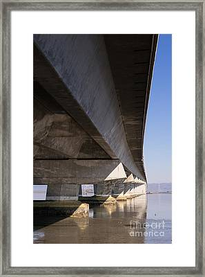 The Dumbarton Bridge In The South Bay Area California Dsc2458 Framed Print by Wingsdomain Art and Photography