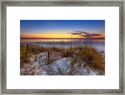 The Dunes At Sunset Framed Print by Debra and Dave Vanderlaan