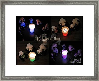 The Earth Hour In The Pandaland Framed Print by Ausra Paulauskaite