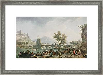 The Edge Of A Fair Les Abords Dune Foire, 1774 Oil On Canvas See Also 13025 Framed Print by Claude Joseph Vernet