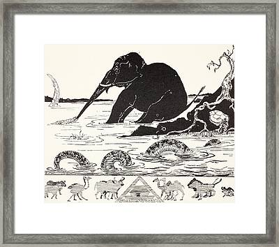 The Elephant's Child Having His Nose Pulled By The Crocodile Framed Print by Joseph Rudyard Kipling