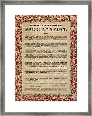 The Emancipation Proclamation Framed Print by American School