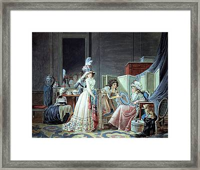 The Embroidered Cupid  Framed Print by Jean Baptiste Mallet
