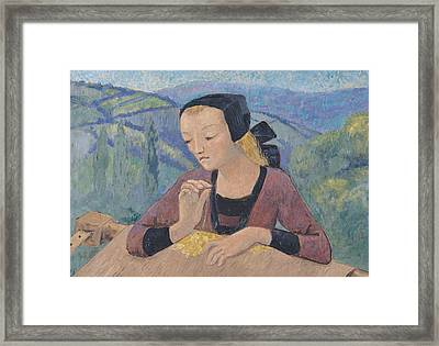 The Embroideress Framed Print by Paul Serusier