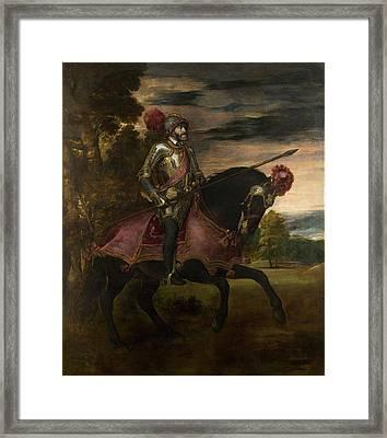 The Emperor Charles V 1500-58 On Horseback In Muhlberg, 1548 Oil On Canvas Framed Print by Titian