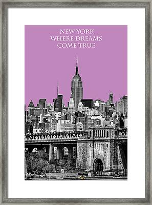 The Empire State Building Pantone African Violet Framed Print by John Farnan